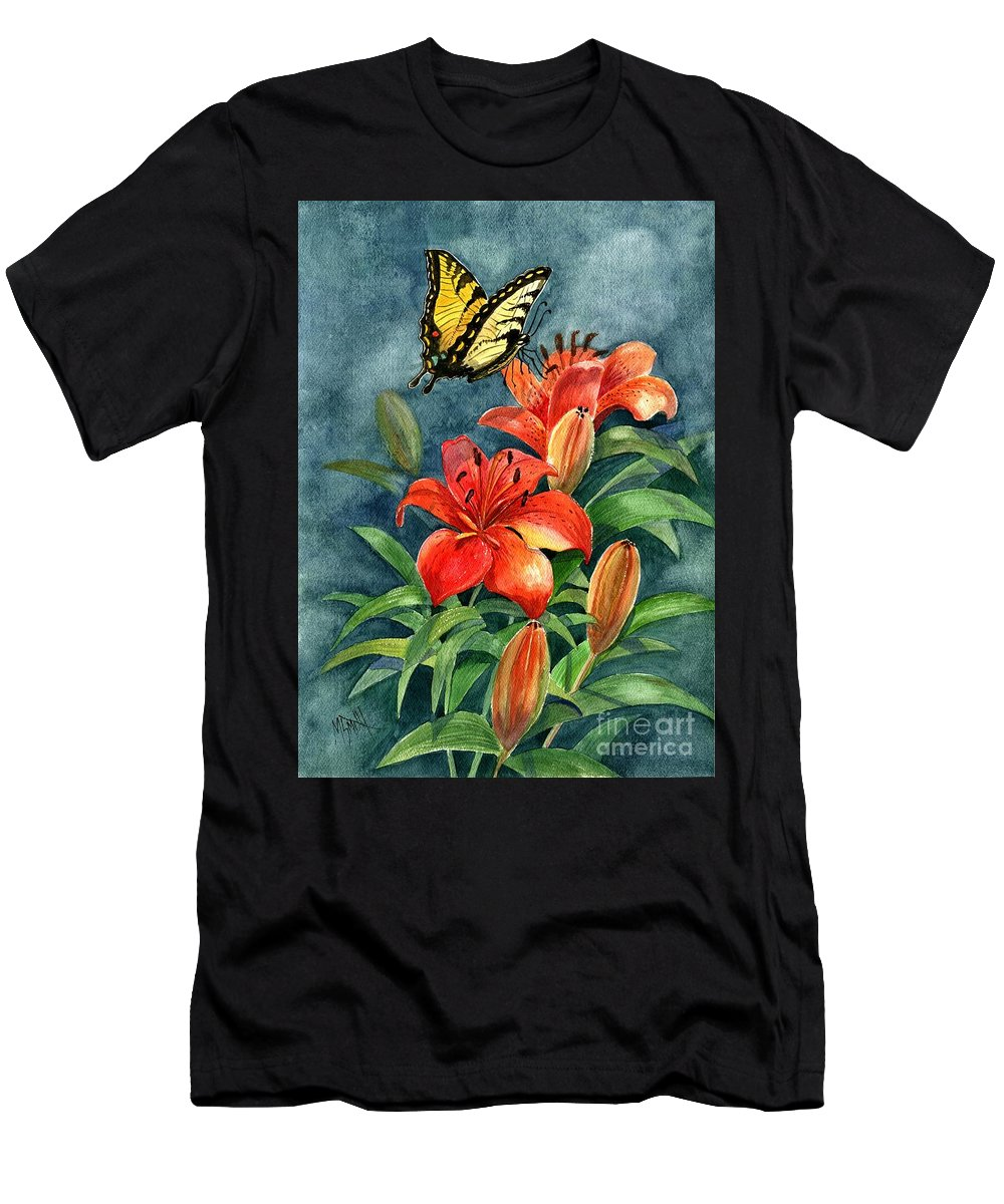 Butterflies Men's T-Shirt (Athletic Fit) featuring the painting Tigers by Marilyn Smith