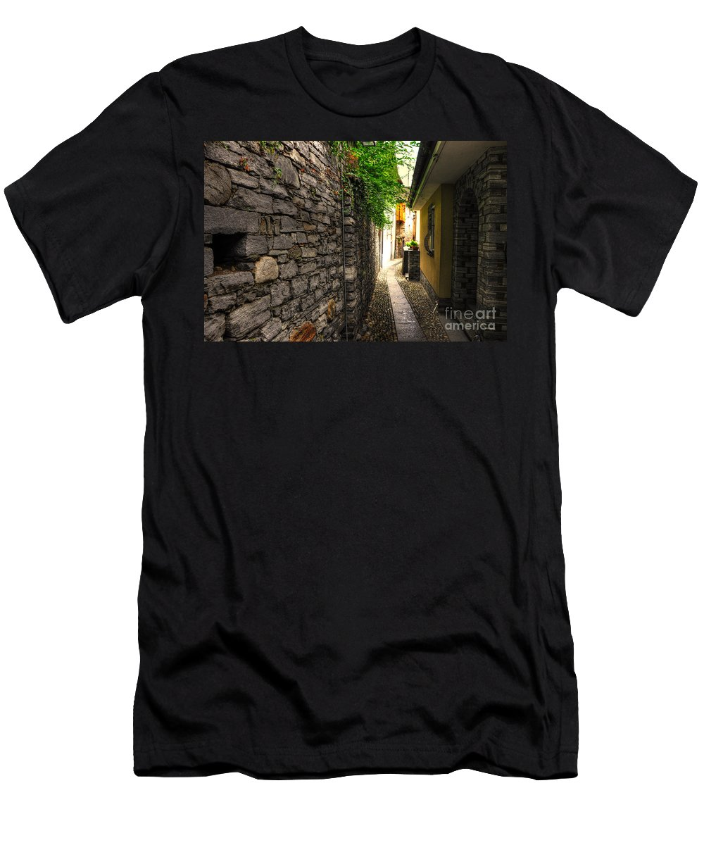 Alley Men's T-Shirt (Athletic Fit) featuring the photograph Tight Alley In Stone by Mats Silvan