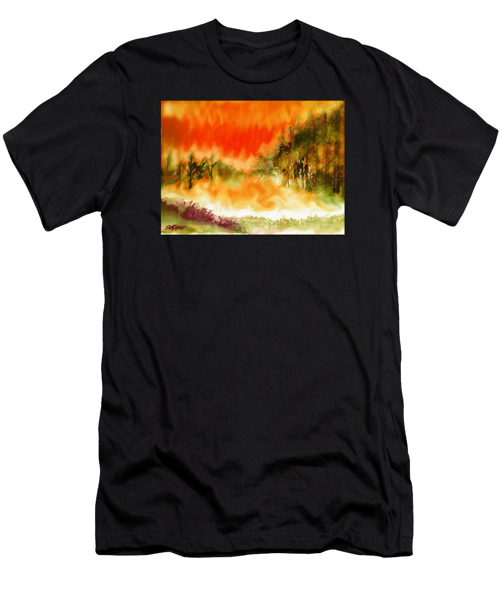 Timber Blaze Men's T-Shirt (Athletic Fit) featuring the mixed media Timber Blaze by Seth Weaver