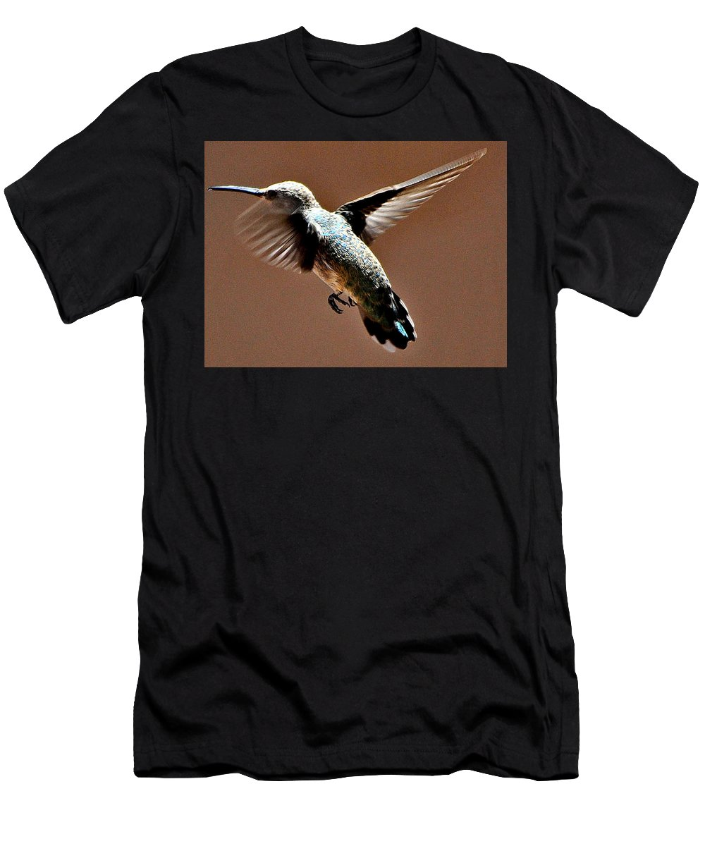Hummingbird Men's T-Shirt (Athletic Fit) featuring the photograph Time To Leave by Jay Milo