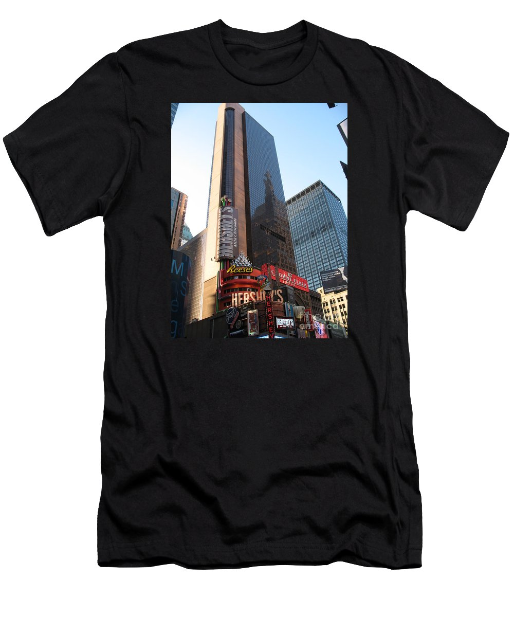 Times Square Men's T-Shirt (Athletic Fit) featuring the photograph Times Square - New York City by Christiane Schulze Art And Photography