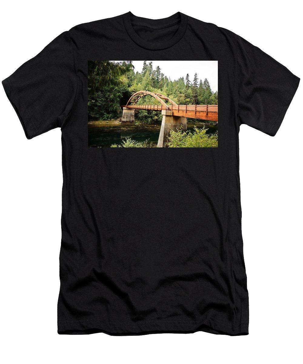 Wooden Men's T-Shirt (Athletic Fit) featuring the photograph Tioga Bridge Over North Umpqua River by Scott Pellegrin