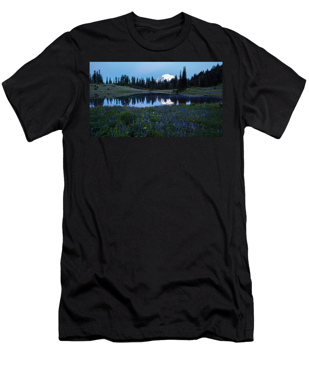 Rainier Men's T-Shirt (Athletic Fit) featuring the photograph Tipsoo Reflection Tranquility by Mike Reid
