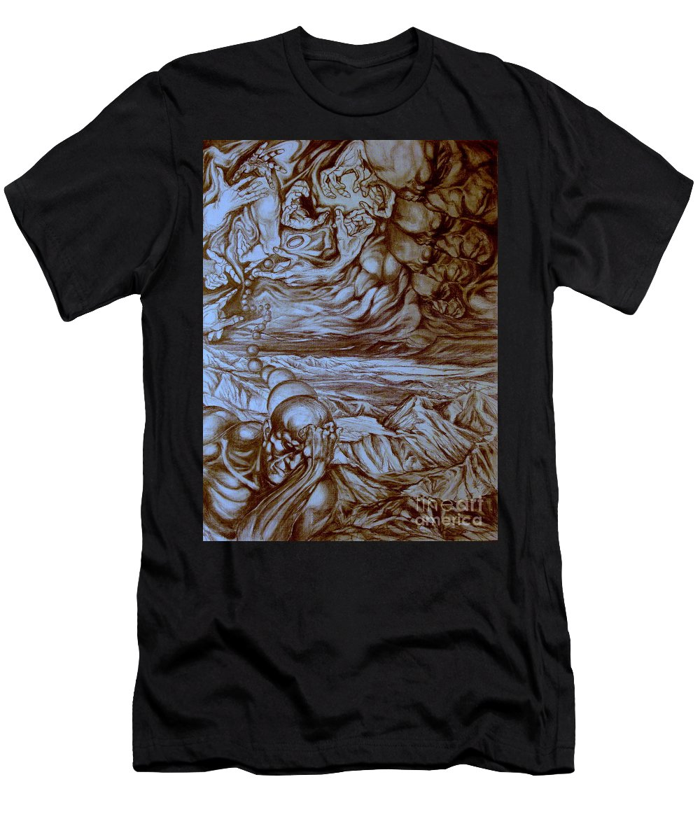 Titan Men's T-Shirt (Athletic Fit) featuring the drawing Titan In Desert by Mikhail Savchenko