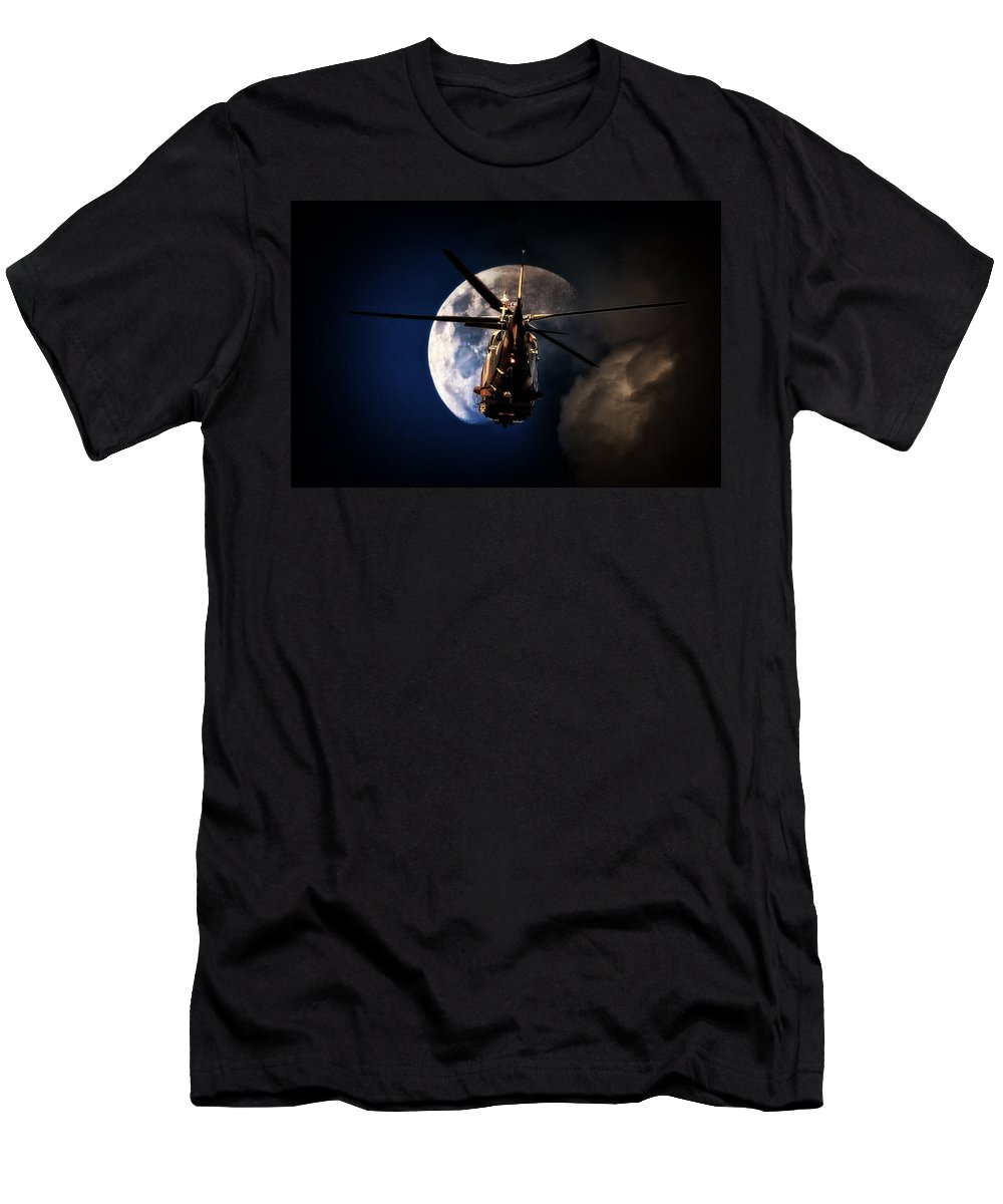 Agustawestland Aw109 Men's T-Shirt (Athletic Fit) featuring the photograph To The Moon by Paul Job