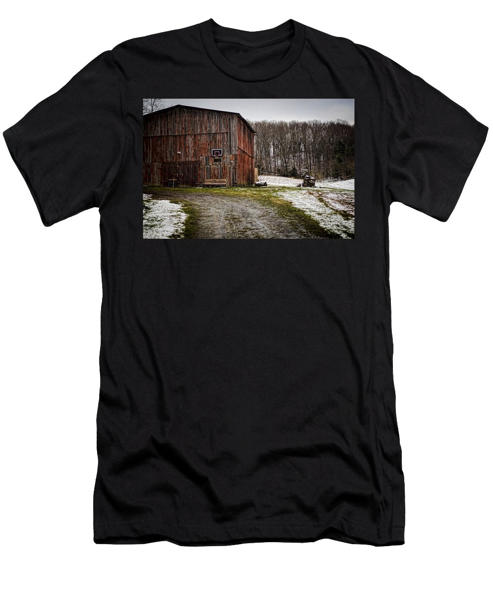 Tobacco Men's T-Shirt (Athletic Fit) featuring the photograph Tobacco Barn by Heather Applegate