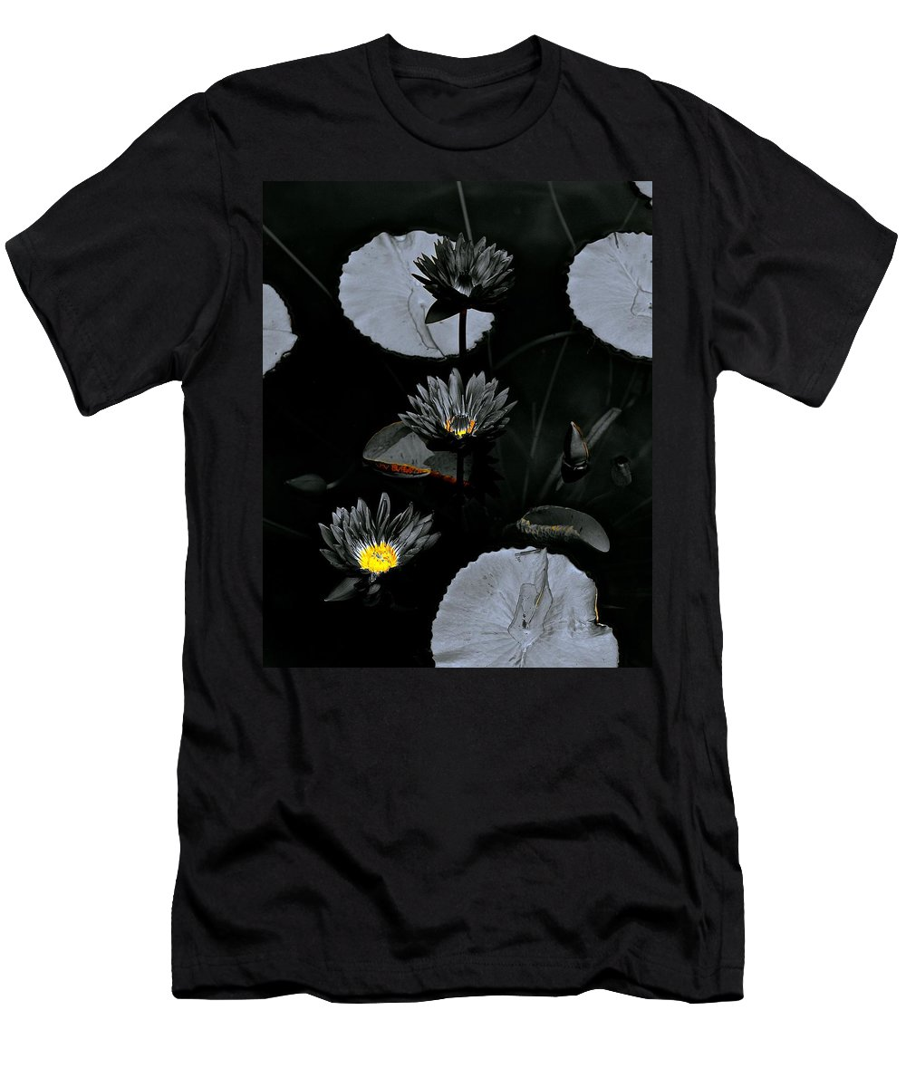 Monochrome Men's T-Shirt (Athletic Fit) featuring the photograph Torchlight Water Flowers by Tim G Ross