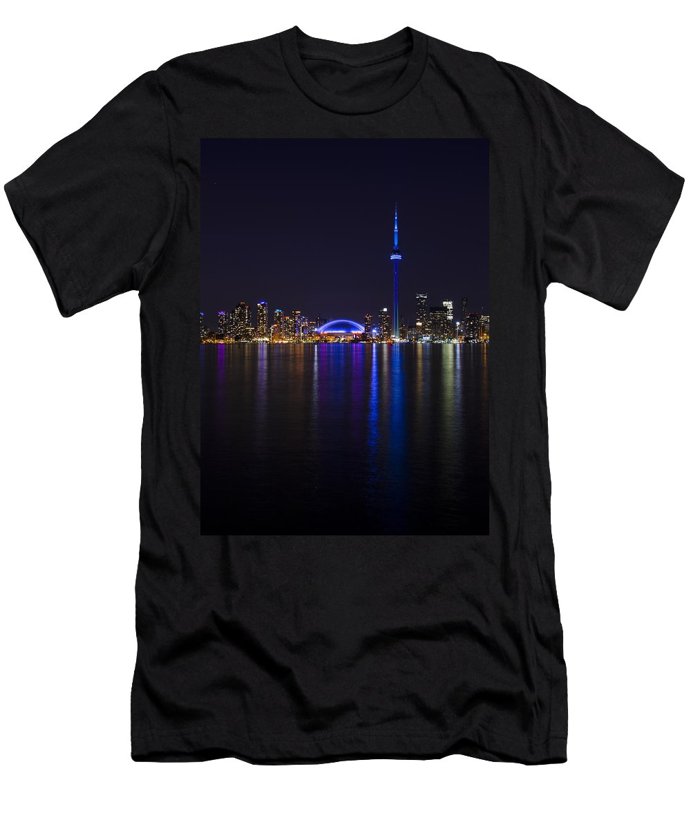 Canada Men's T-Shirt (Athletic Fit) featuring the photograph Toronto From Center Island by Sandra Parlow