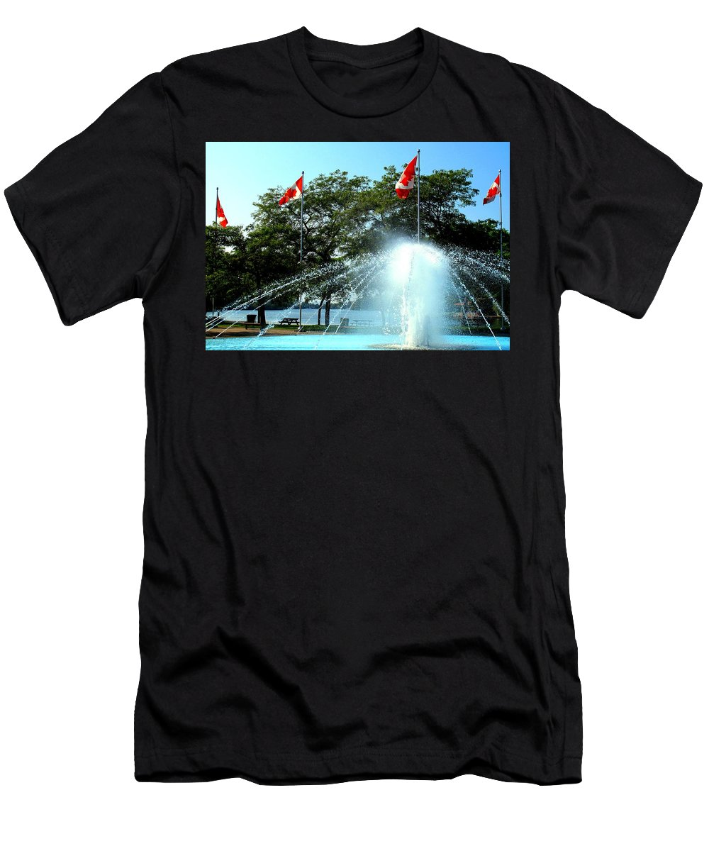 Toronto Men's T-Shirt (Athletic Fit) featuring the photograph Toronto Island Fountain by Ian MacDonald