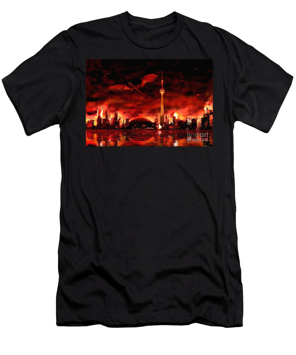 Dragon T-Shirt featuring the photograph Toronto skyline of Dragons by Tom Straub