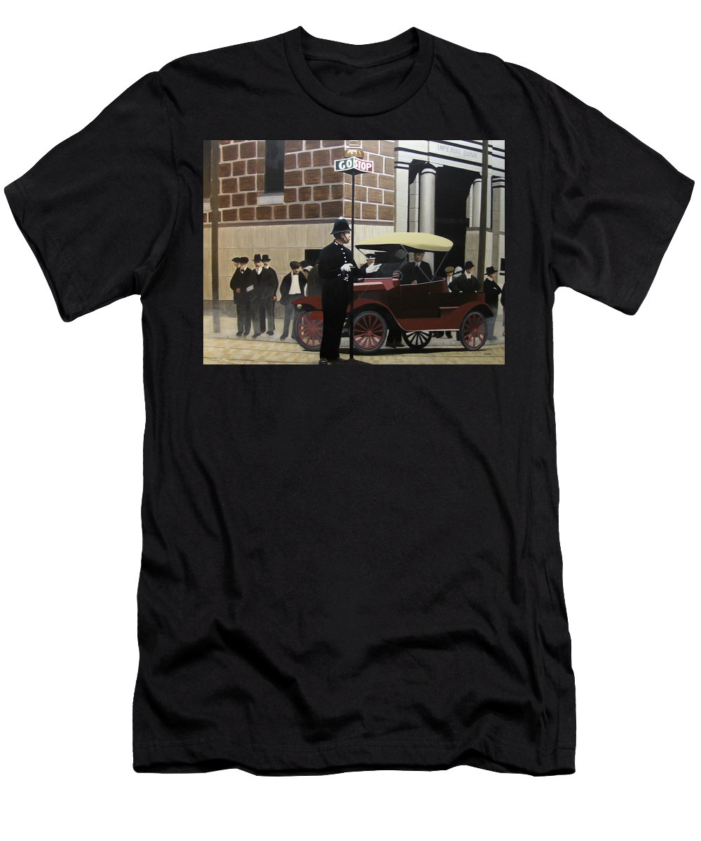 Streetscapes Men's T-Shirt (Athletic Fit) featuring the painting Toronto Traffic Cop 1912 by Kenneth M Kirsch
