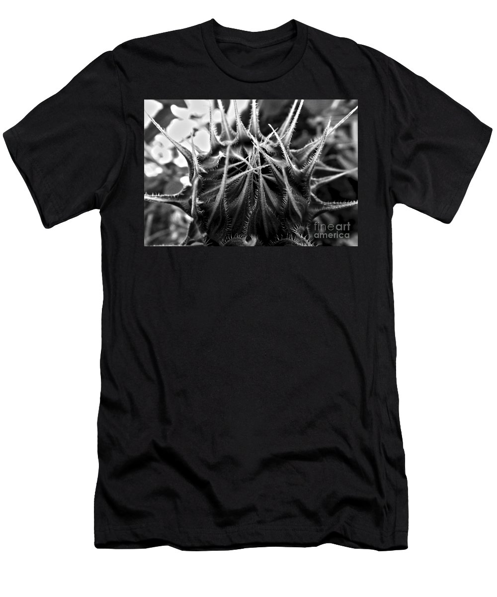 Sunflower Men's T-Shirt (Athletic Fit) featuring the photograph Total Eclipse Of The Sunflower - Bw by James Aiken