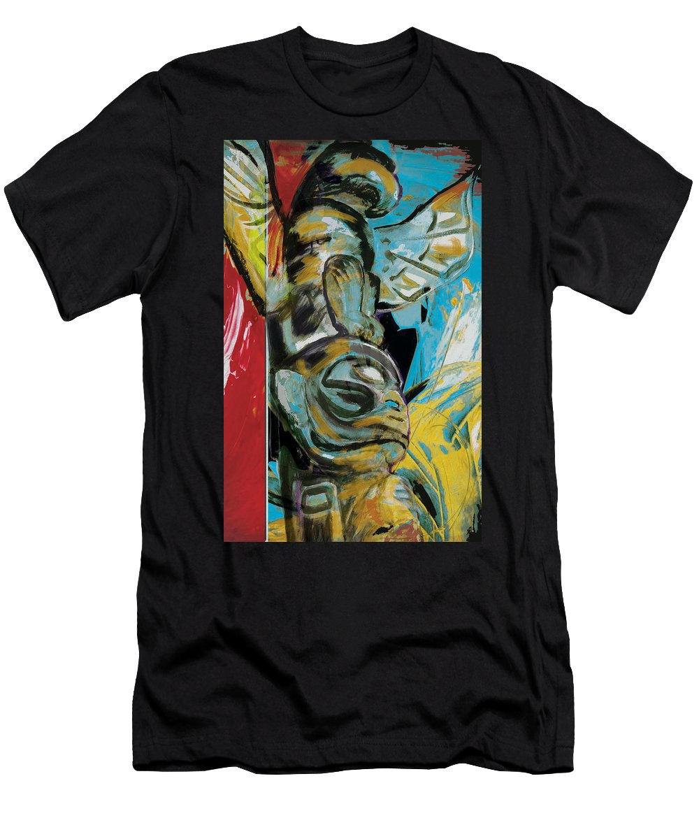 Aboriginals Men's T-Shirt (Athletic Fit) featuring the painting Totem Pole 2 by Corporate Art Task Force