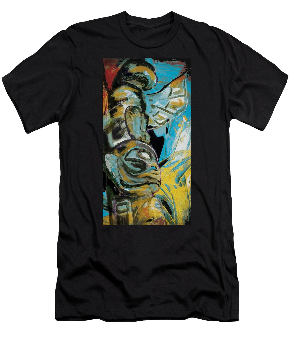 Aboriginals Men's T-Shirt (Athletic Fit) featuring the painting Totem Pole 3 by Corporate Art Task Force