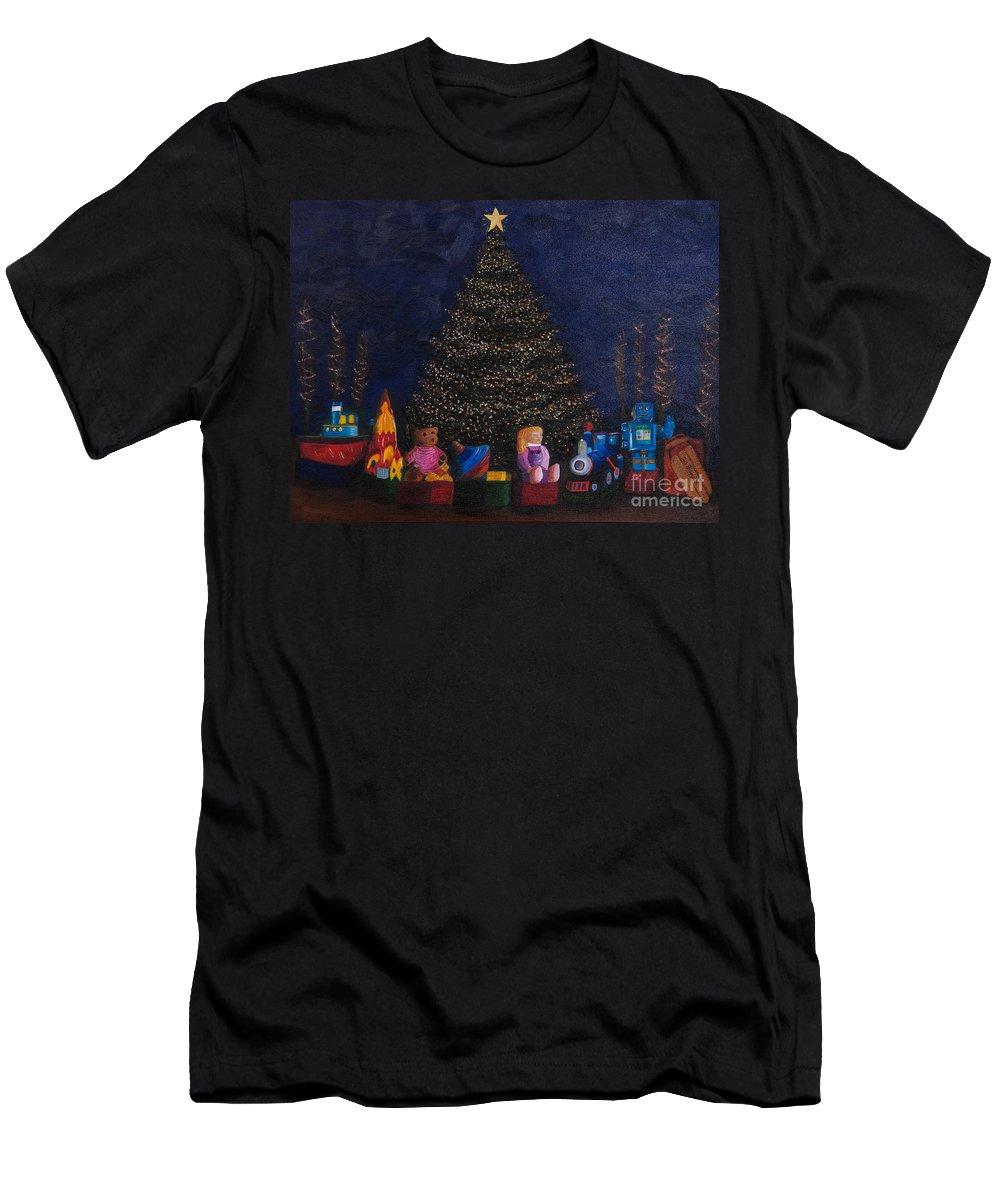 Iris Holzer Richardson Men's T-Shirt (Athletic Fit) featuring the painting Christmas Toys by Iris Richardson