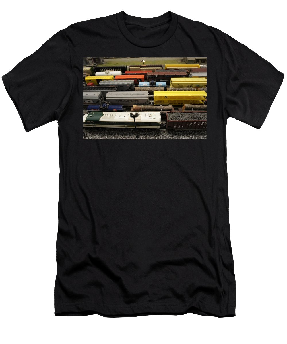 Toy Train Set Men's T-Shirt (Athletic Fit) featuring the photograph Toy Trains by Laurie Perry