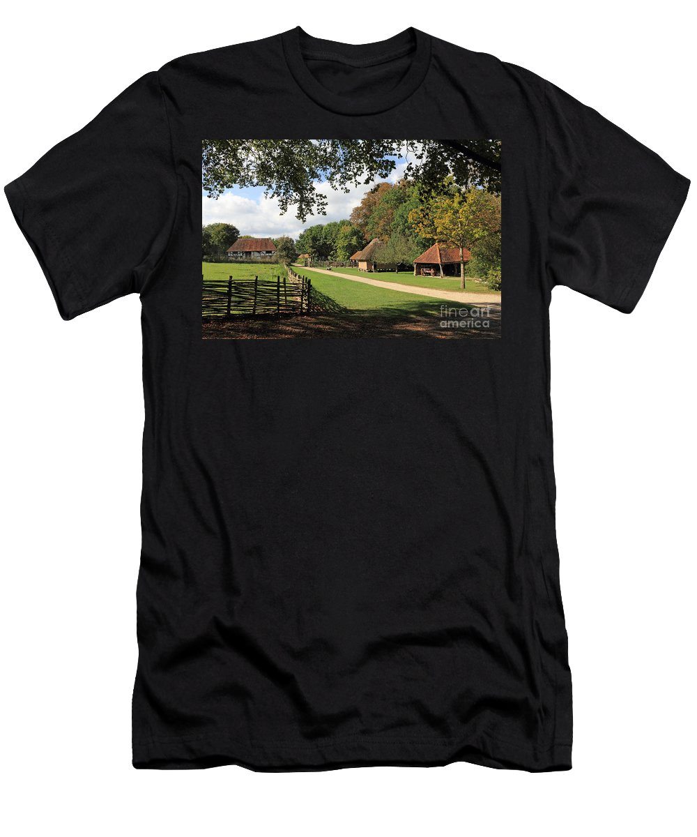 Traditional Old Cottage Britain Countryside Men's T-Shirt (Athletic Fit) featuring the photograph Traditional Countryside Britain by Julia Gavin