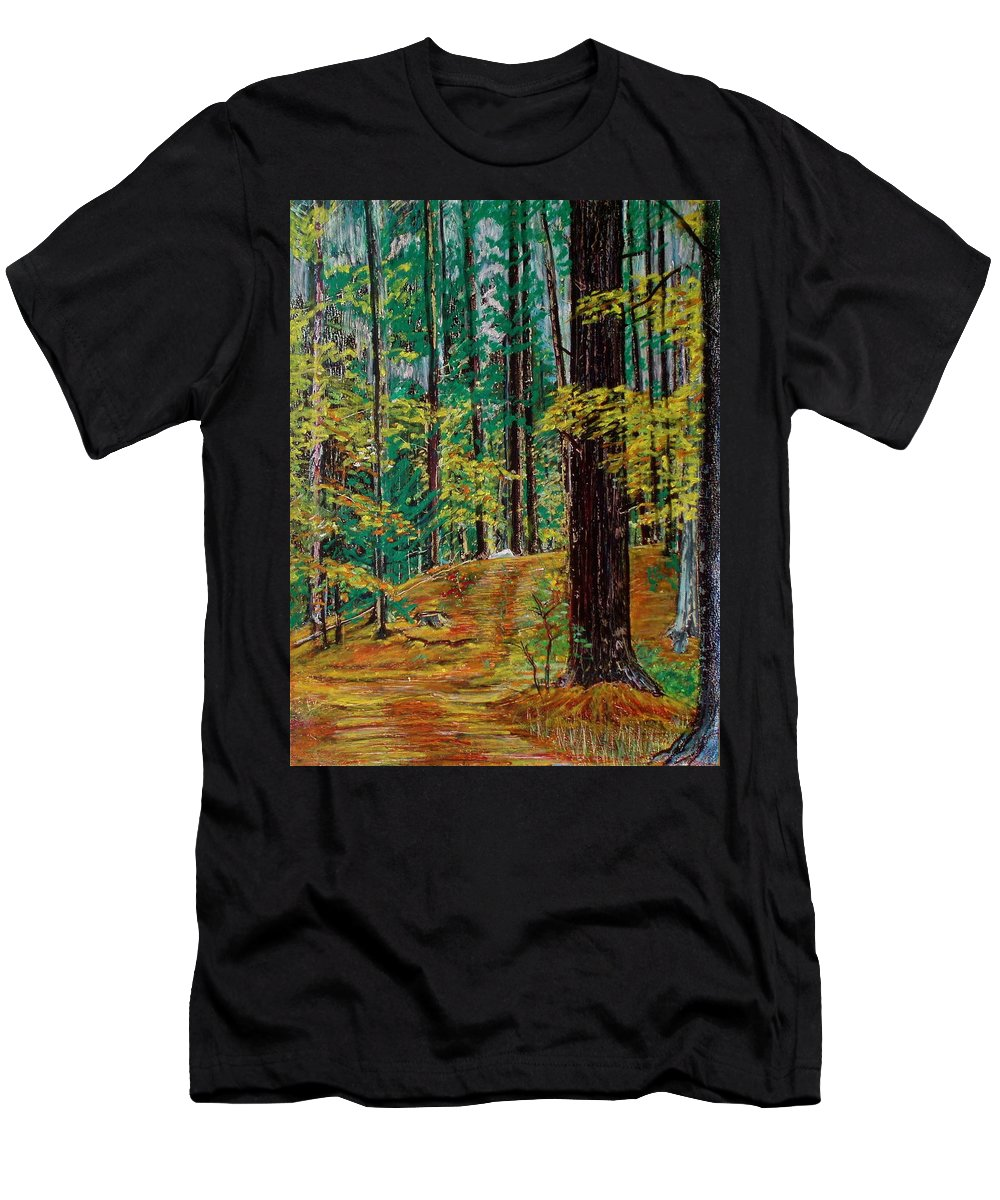 New Hampshire Men's T-Shirt (Athletic Fit) featuring the pastel Trail At Wason Pond by Sean Connolly