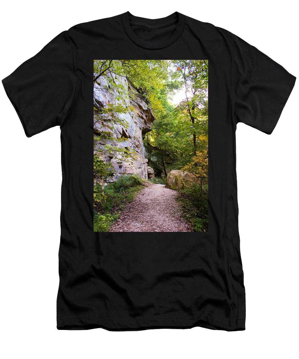 Rocky Cliff Wildcat Den Muscatine Ia Men's T-Shirt (Athletic Fit) featuring the photograph Trail Beside The Cliff Wildcat Den State Park by Cynthia Woods