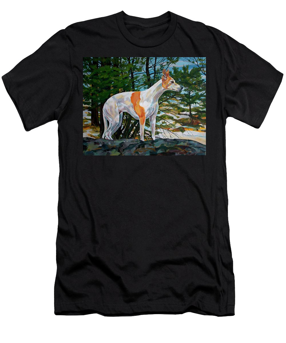 Whippet Men's T-Shirt (Athletic Fit) featuring the painting Trailblazer by Derrick Higgins