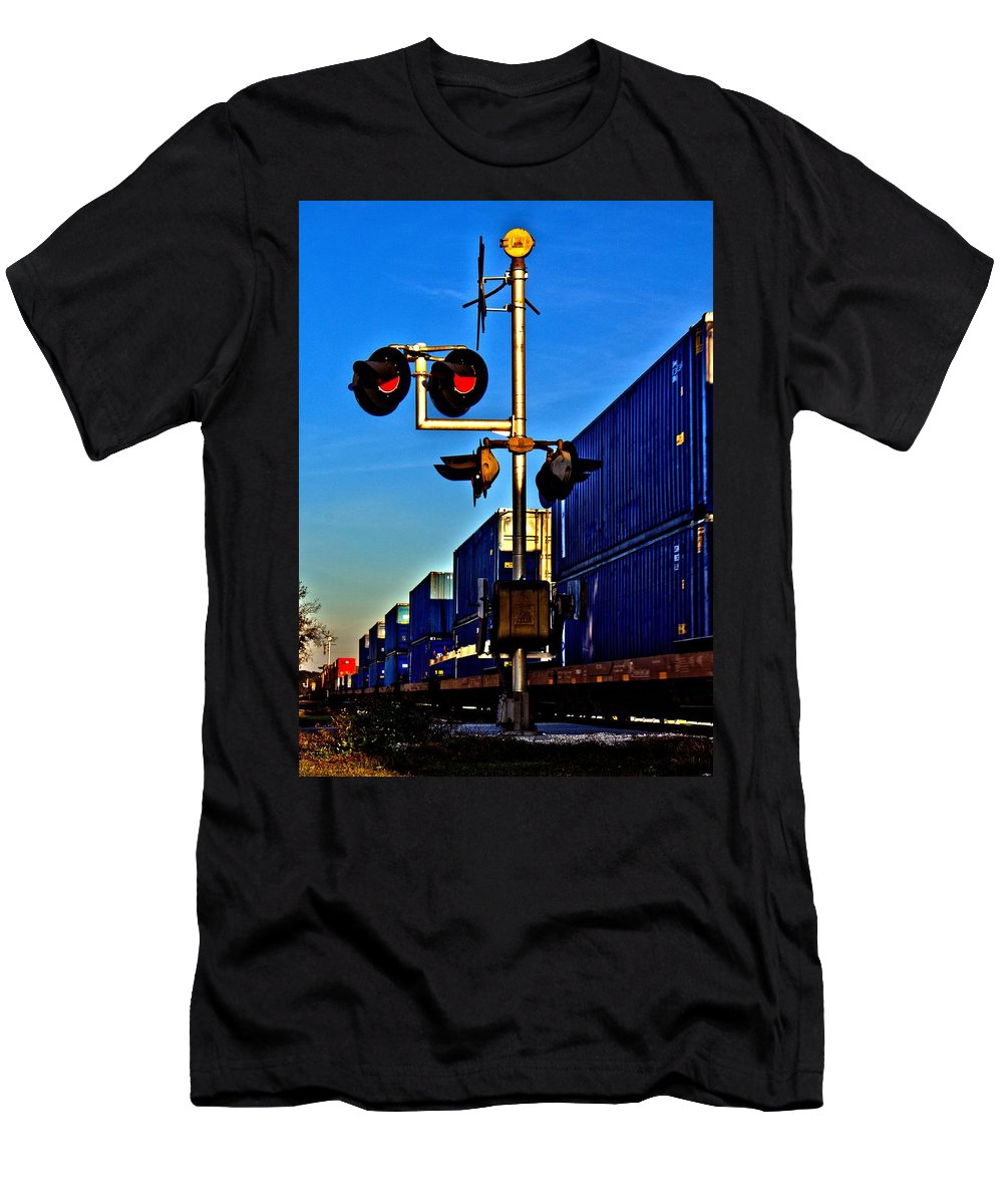 Train Men's T-Shirt (Athletic Fit) featuring the photograph Train Blue by Tyson Kinnison