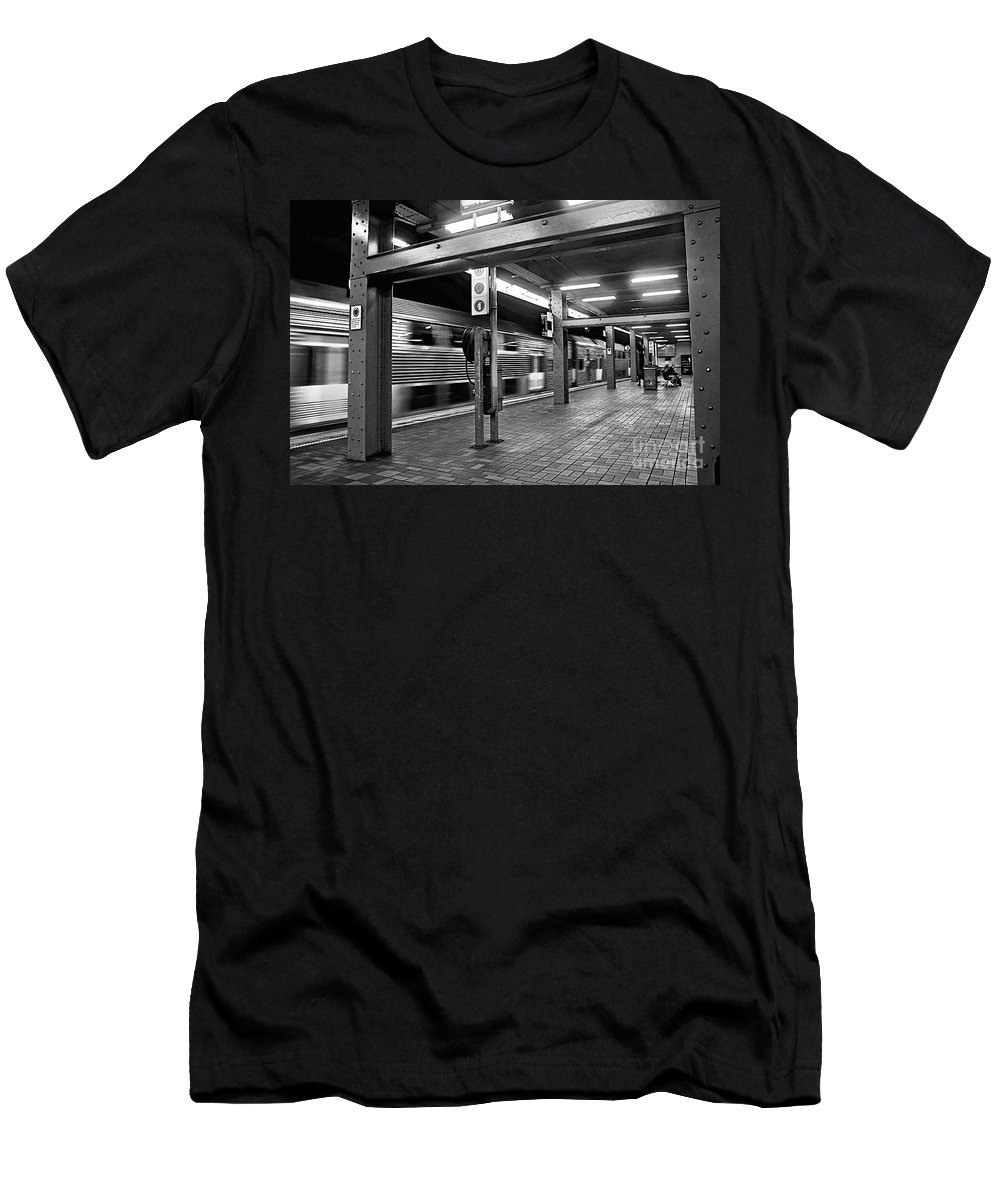 Photography Men's T-Shirt (Athletic Fit) featuring the photograph Train Passing by Kaye Menner