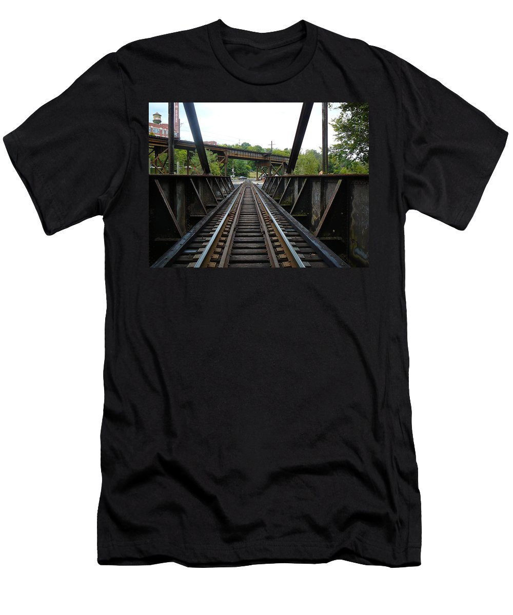 Virginia Men's T-Shirt (Athletic Fit) featuring the photograph Train Pov by Two Bridges North