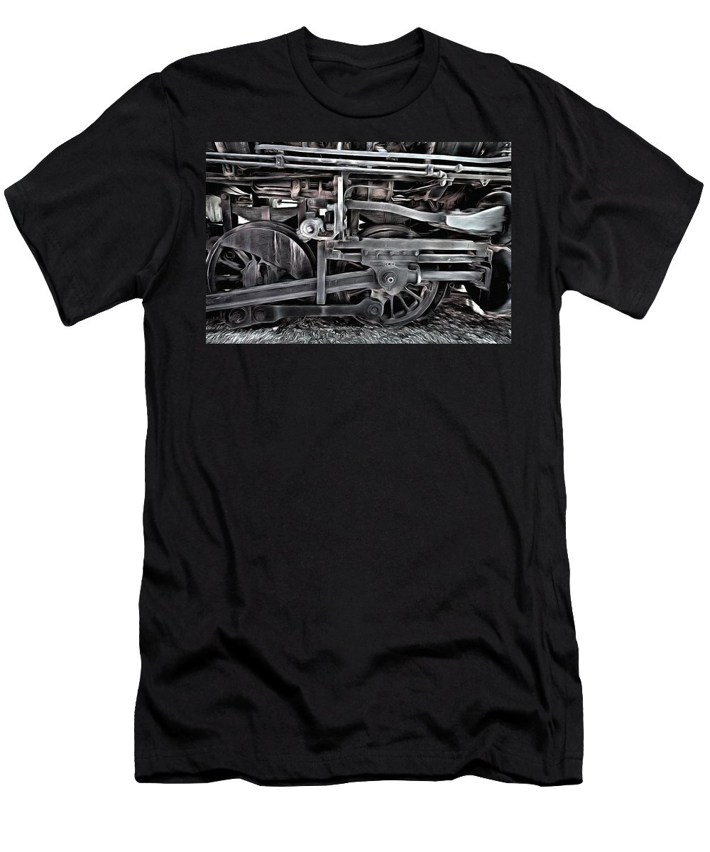 Train - The Wheels Are Turning Men's T-Shirt (Athletic Fit) featuring the painting Train - The Wheels Are Turning by L Wright