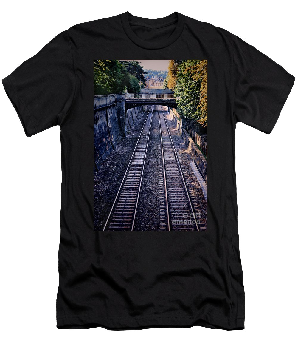 Train Men's T-Shirt (Athletic Fit) featuring the photograph Train Tracks Into Town by Jill Battaglia