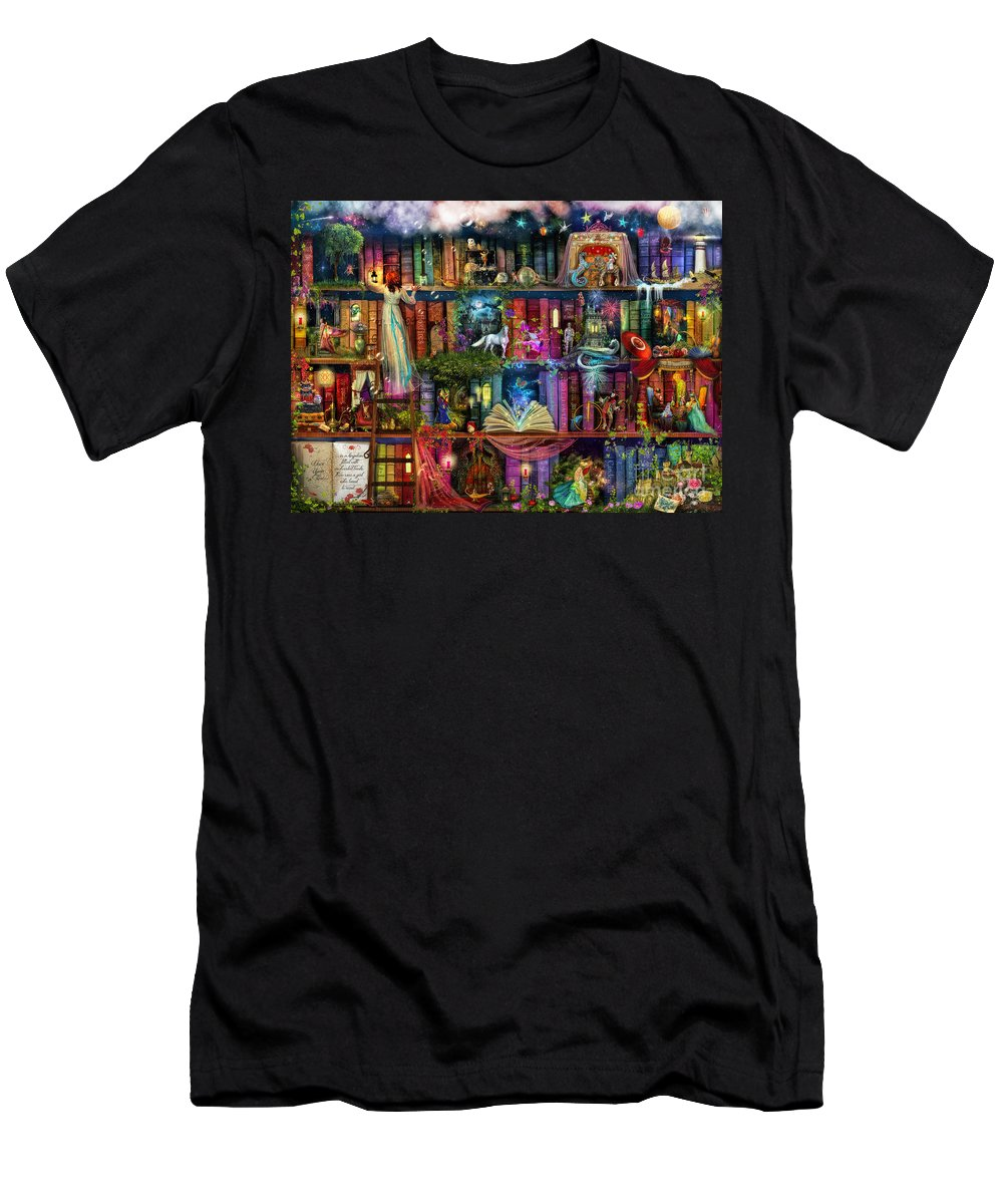 Fairytale Men's T-Shirt (Athletic Fit) featuring the digital art Fairytale Treasure Hunt Book Shelf by MGL Meiklejohn Graphics Licensing