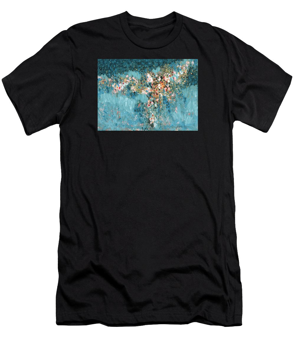 Abstract Men's T-Shirt (Athletic Fit) featuring the painting Treasures by Lynda Hoffman-Snodgrass