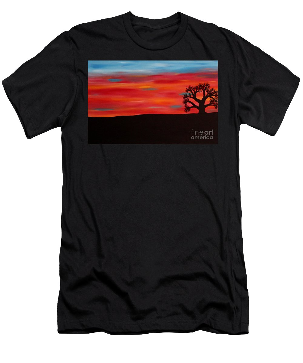 Sunset Men's T-Shirt (Athletic Fit) featuring the painting Tree At Sunset II by Janell R Colburn