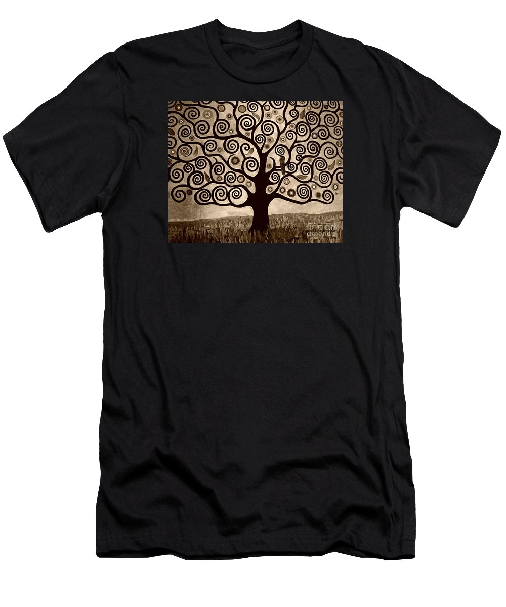 Sepia Men's T-Shirt (Athletic Fit) featuring the painting Tree Of Life In Sepia by Samantha Black