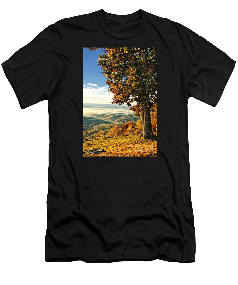 Vista Men's T-Shirt (Athletic Fit) featuring the photograph Tree Overlook Vista Landscape by Timothy Flanigan