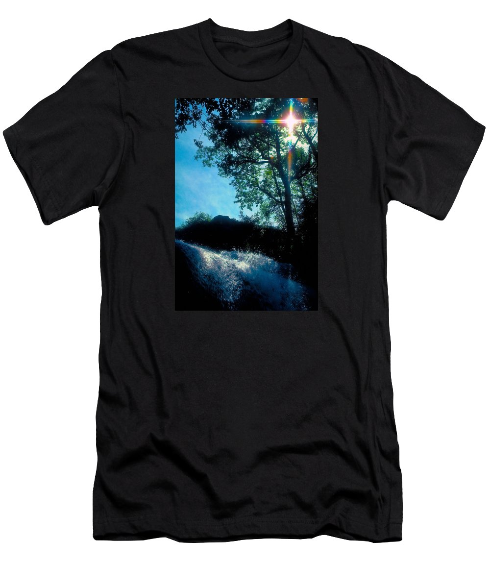 Waterfall Men's T-Shirt (Athletic Fit) featuring the photograph Tree Planted By Streams Of Water by Marie Hicks
