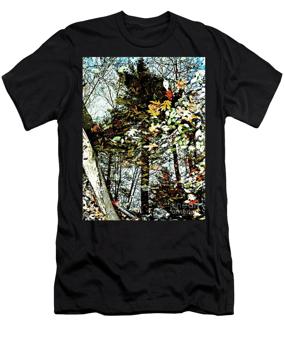 Tree Men's T-Shirt (Athletic Fit) featuring the photograph Tree Reflected In Leaves by Kevin Fortier