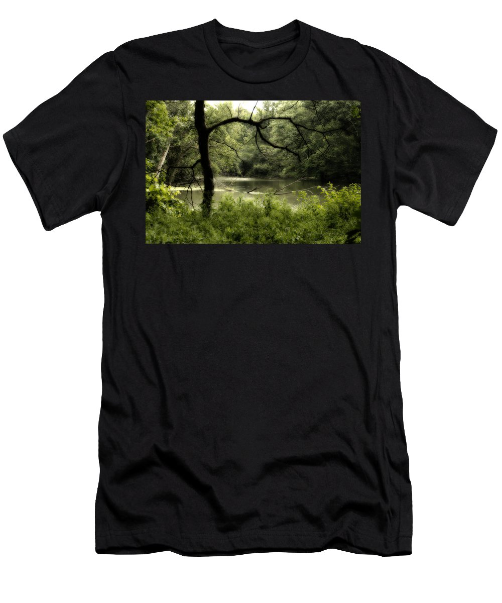 Tree Silhouette Men's T-Shirt (Athletic Fit) featuring the photograph Tree Silhouette by Thomas Woolworth