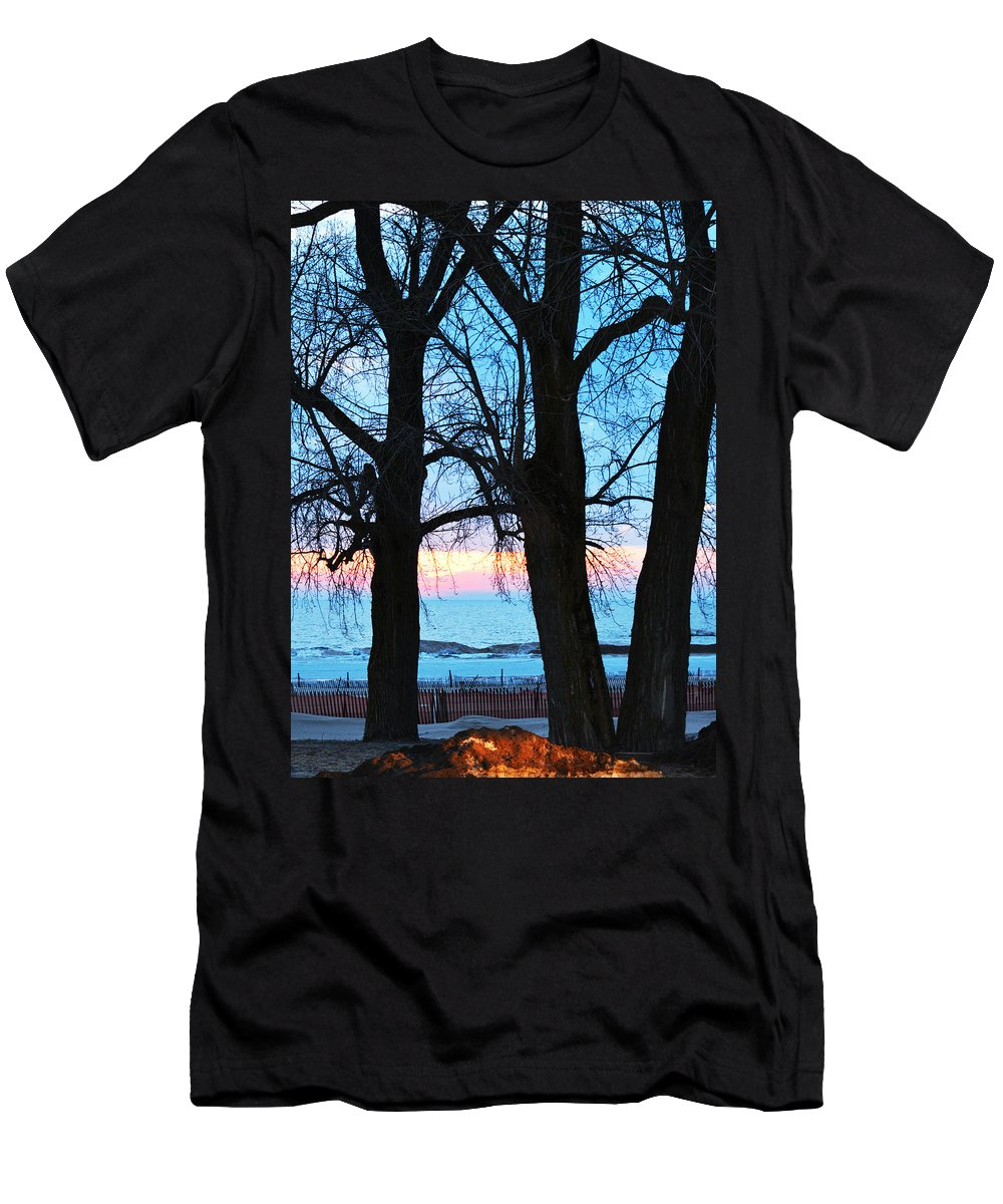 Lake Michigan Men's T-Shirt (Athletic Fit) featuring the photograph Trees And Sunset by Linda Kerkau