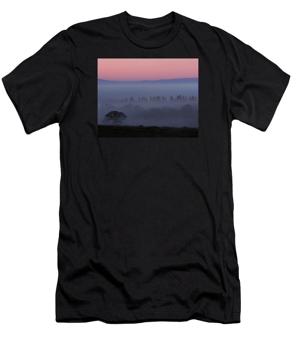 Tree Men's T-Shirt (Athletic Fit) featuring the photograph Trees In Fog At Sunrise by Robert Woodward