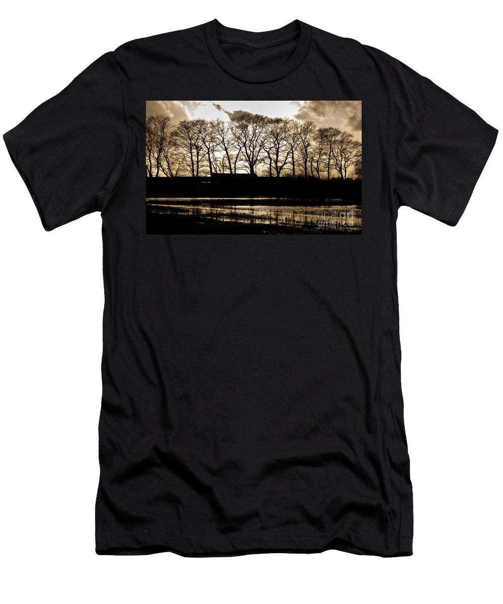 Nature Men's T-Shirt (Athletic Fit) featuring the photograph Trees Silhouettes by Mike Santis