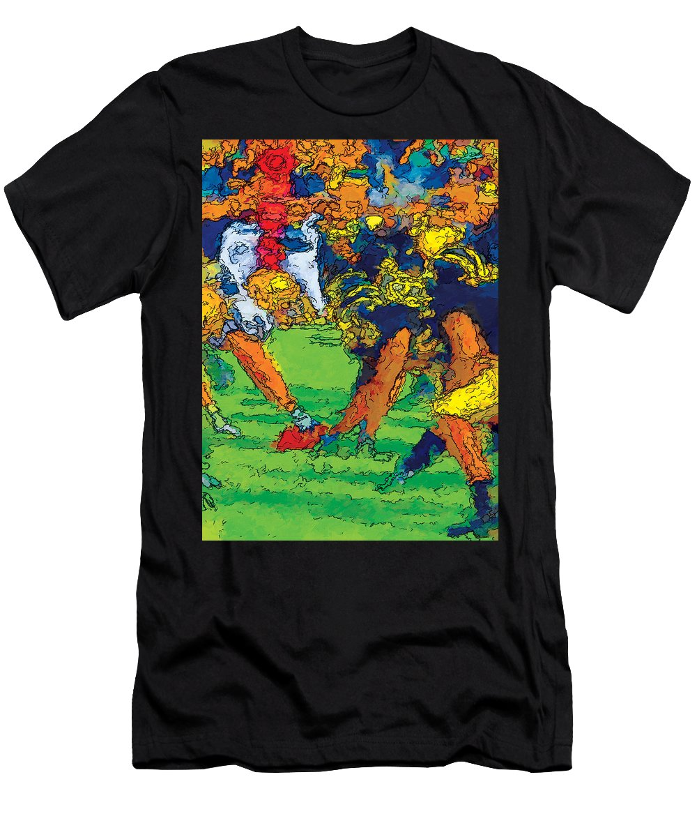 Football Men's T-Shirt (Athletic Fit) featuring the mixed media Trench Warfare Color by John Farr