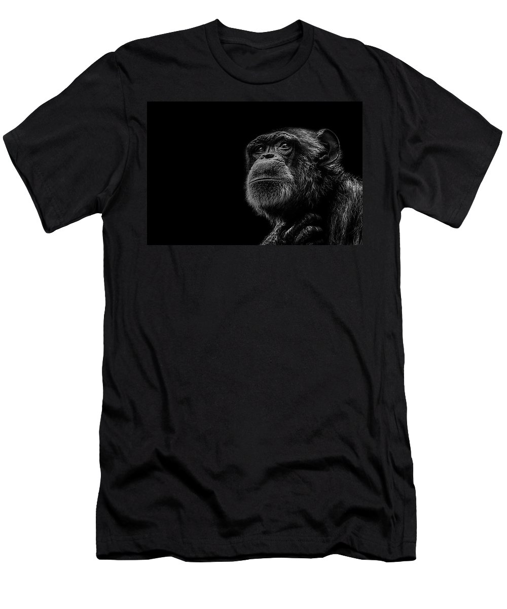 Chimpanzee T-Shirt featuring the photograph Trepidation by Paul Neville