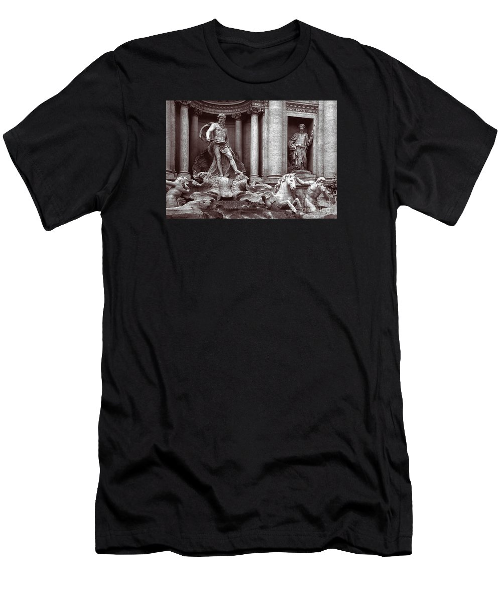 Trevi Fountain Men's T-Shirt (Athletic Fit) featuring the photograph Trevi Fountain Detail by Liz Leyden