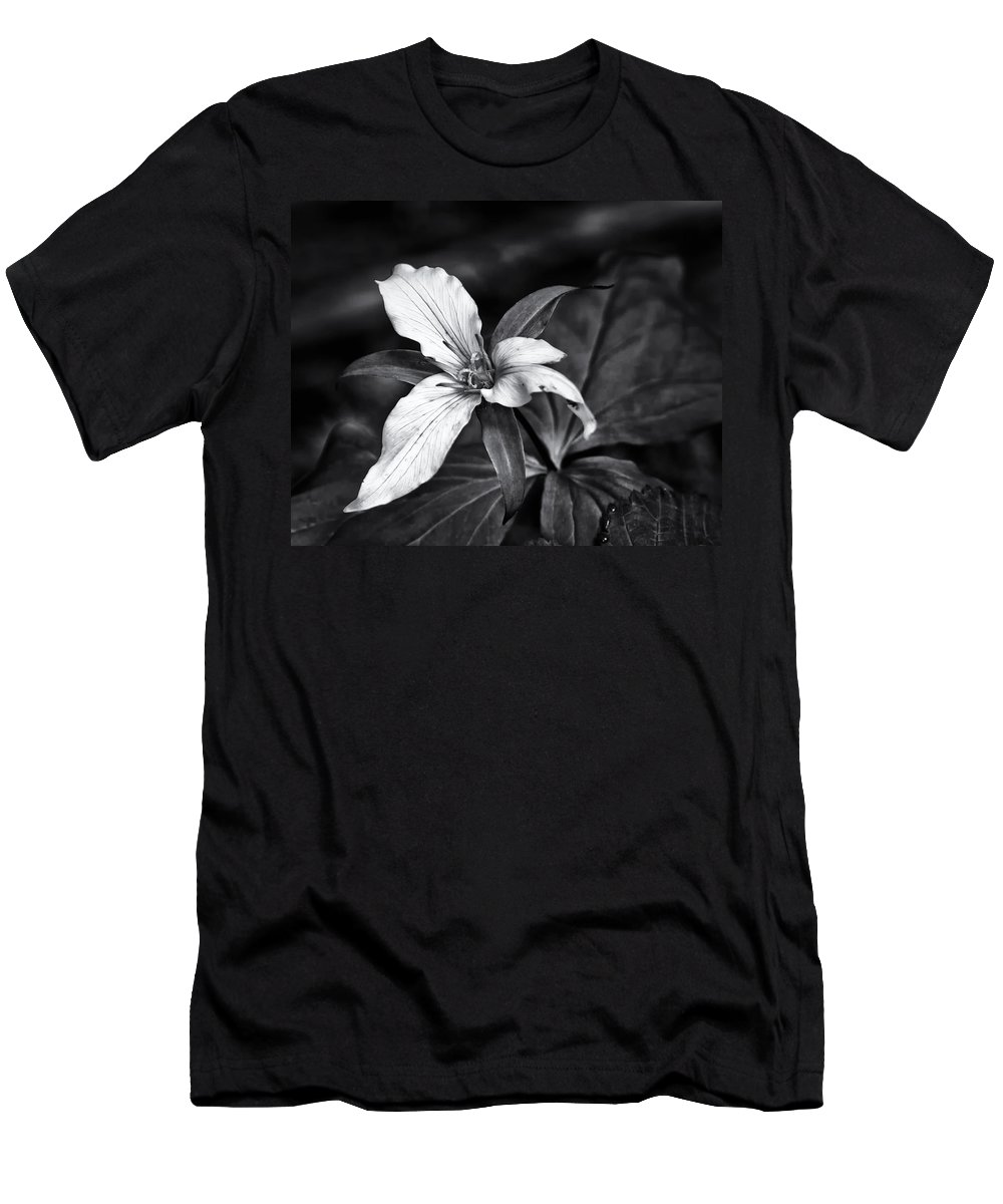 Trillium Flower Men's T-Shirt (Athletic Fit) featuring the photograph Trillium - Black And White by Belinda Greb
