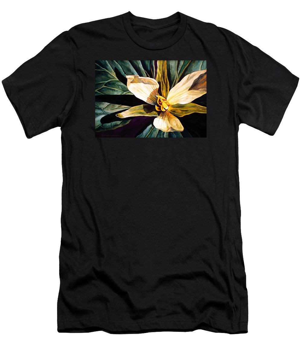 Flower Men's T-Shirt (Athletic Fit) featuring the painting Trillium by Lynda Hoffman-Snodgrass