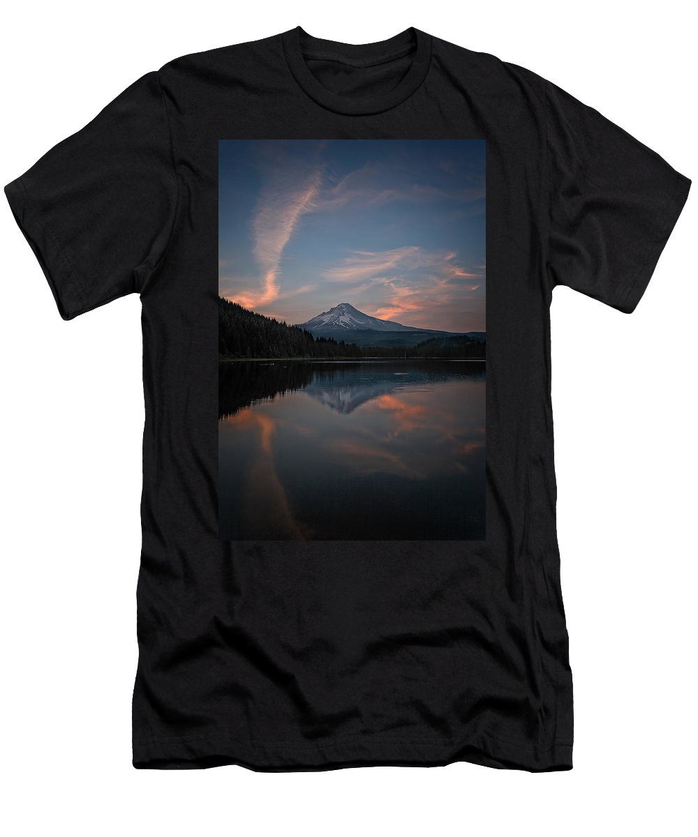 Trillium Twilight Men's T-Shirt (Athletic Fit) featuring the photograph Trillium Twilight by Wes and Dotty Weber
