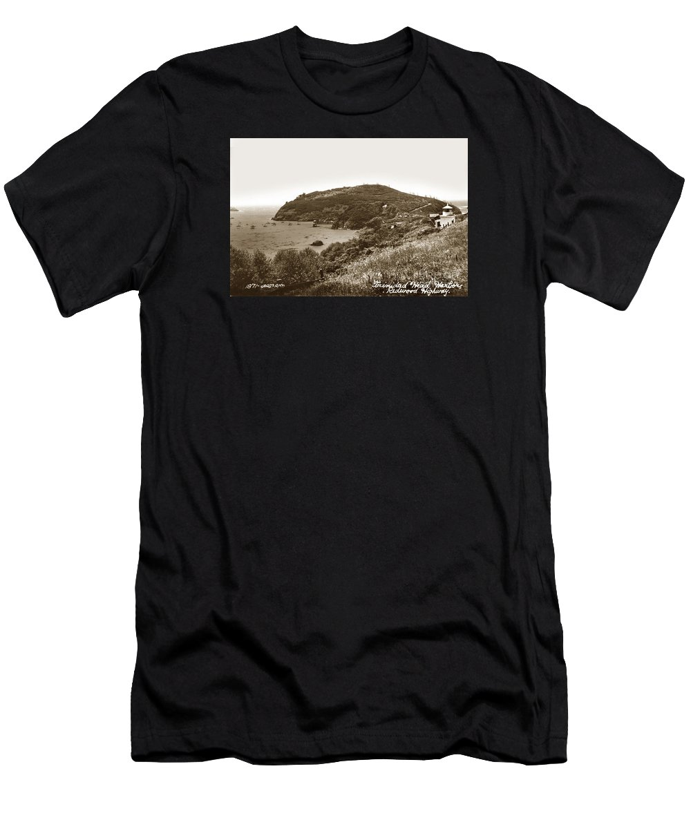 Memorial Lighthouse Men's T-Shirt (Athletic Fit) featuring the photograph Trinidad Memorial Lighthouse And Fog Bell With Trinidad Head Circa 1948 by California Views Archives Mr Pat Hathaway Archives