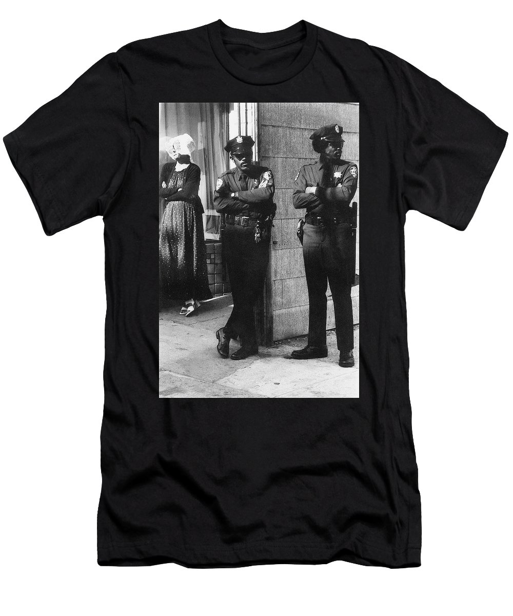 Trio Of Arm Crossers San Francisco California 1972 Policemen Hippie Black And White Men's T-Shirt (Athletic Fit) featuring the photograph Trio Of Arm Crossers San Francisco California 1972 by David Lee Guss