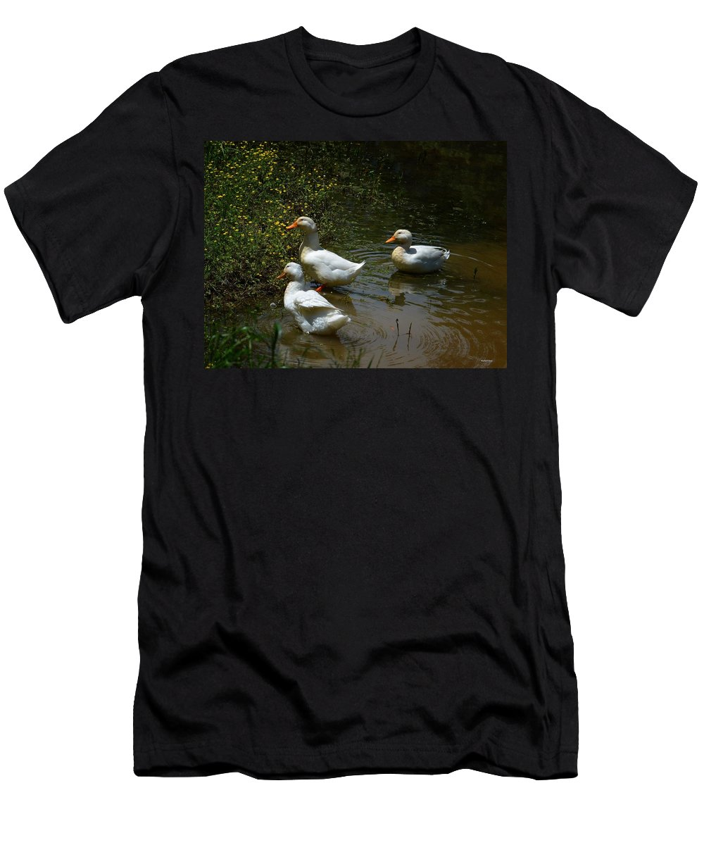 Triple Ducks Men's T-Shirt (Athletic Fit) featuring the photograph Triple Ducks by Maria Urso