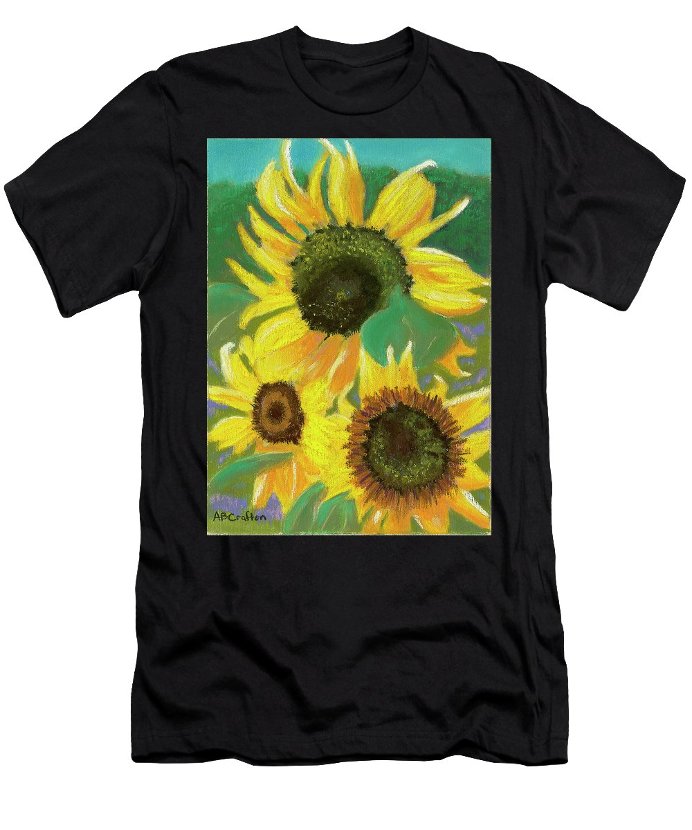 Sunflowers Men's T-Shirt (Athletic Fit) featuring the painting Triple Gold by Arlene Crafton